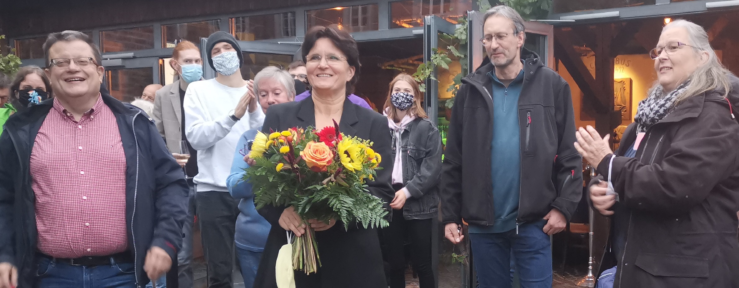 Dr. Esther Kanschat mit Rainer Hübinger (SPD), Martin Schwarz (Piraten) und Birgit Onori (Die Linke)
